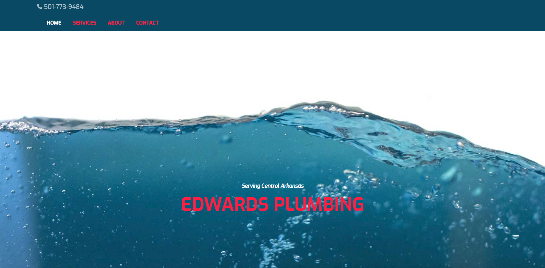 Landing page screen shot for Edwards Plumbing