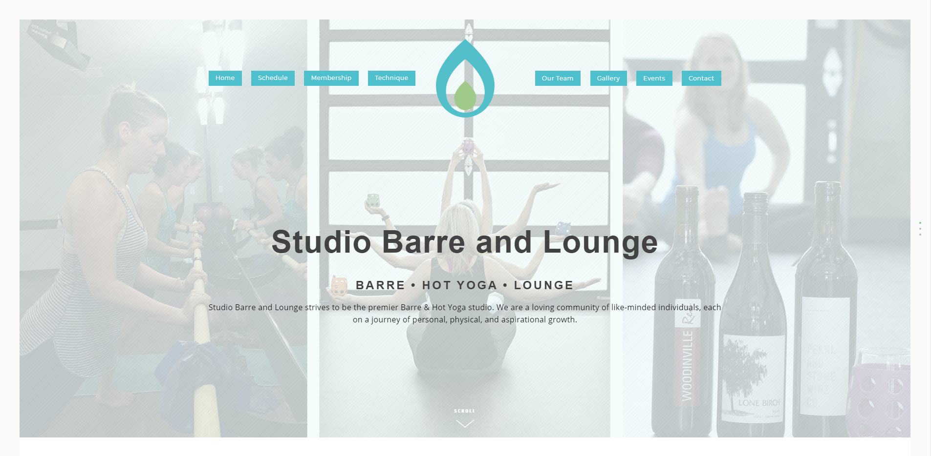 Home page screen shot for Studio Barre and Lounge