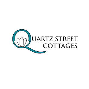 quartz street cottages logo, letter q with quartz crystals as lotus petals