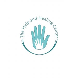 logo featuring a small handprint within a larger one for a child psychologist
